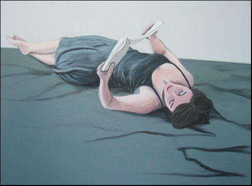 Künstler:  Karoline Kroiss  Titel:  Leserin V  Technik:  Acryl auf Leinwand / acryl on canvas  Jahr:  2012  Größe:  120.00x90.00