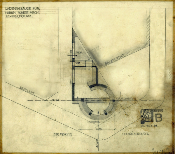 Bauplan eines sog. Milchhäuschens am Schweizer Platz (Nachlass Helbing)