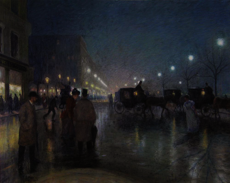 Ernst Eitner Jungfernstieg bei Abendbeleuchtung 1894, Pastell, Foto SHMH, MHG