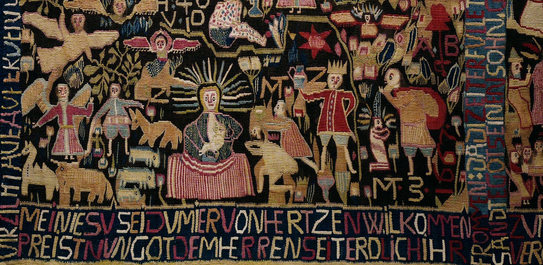 Teppich zum 150. Jahrestag der Reformation (Detail) © Staatliche Museen zu Berlin, Museum Europäischer Kulturen / Ute Franz-Scarciglia
