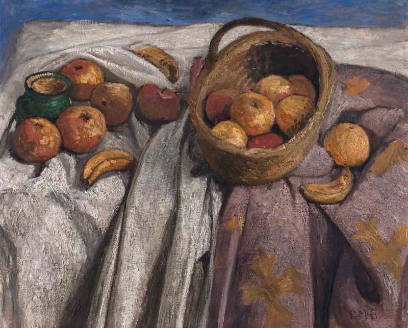 Paula Modersohn-Becker,Stillleben mit Äpfeln und Bananen, 1905Tempera auf Leinwand, 67 x 84 cm, Kunsthalle Bremen – Der Kunstverein in Bremen, Foto: Karen Blindow