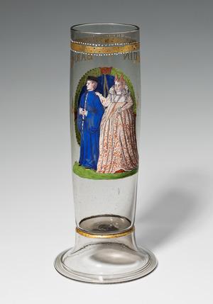 Stangenglas mit der Darstellung des Martin Barmet und seiner Ehefrau, datiert 1588, H. 29,5 cm, Sammlung Dr. Schicker, Berlin, Foto: Martin Adam