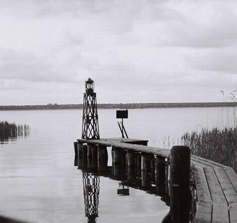 Prüfstand für eine Laterne am Seezeichenversuchsfeld am Müggelsee, 1952 © SDTB / Historisches Archiv, Sammlung WSA Stralsund
