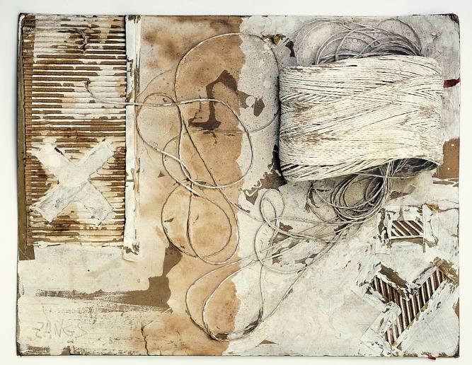 Herbert Zangs, O.T. / Objektcollage / Verweißung, 1970er Jahre, Wellpappe, Schnüre auf Karton, verweißt, 54,8 x 70x 10 cm_Foto: George Ksandr_copyright Galerie Maulberger, München 2016