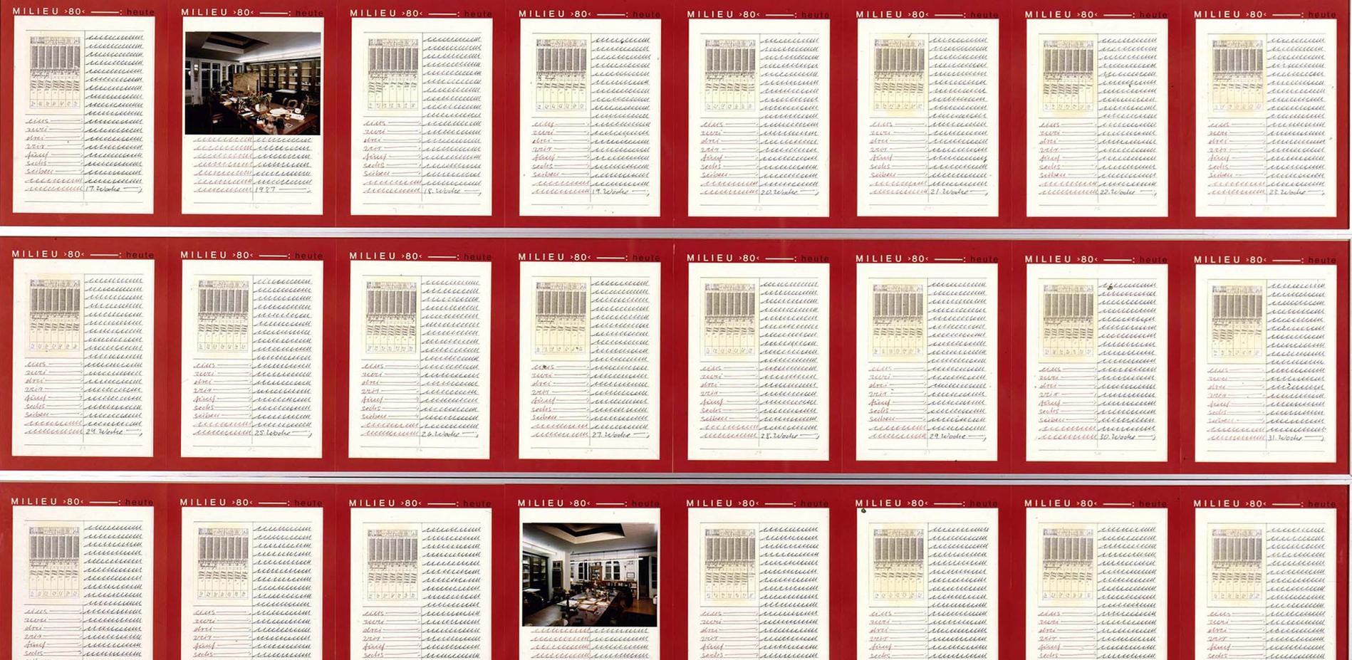 Hanne Darboven, Milieu >80<, Posthum, 1987, Detail, Feder auf Papier und Collage, 56-teilig, Staatliche Museen zu Berlin, Nationalgalerie, 1988 erworben durch das Land Berlin © Nationalgalerie im Hamburger Bahnhof, SMB / Eigentum des Landes Berlin / Jörg P. Anders Hanne Darboven Stiftung, Hamburg / VG Bild-Kunst, Bonn 2017