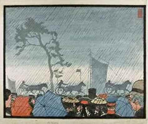 Hans Förster: Bauernrennen im Regen, um 1905-1920 / Cremon, undatiert