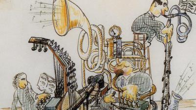 Paul Hindemith, Trio, ohne Jahresangabe, Tinte/Buntstifte auf Papier, 18,5 x 14 cm, Copyright: Foundation Hindemith, Blonay (CH)