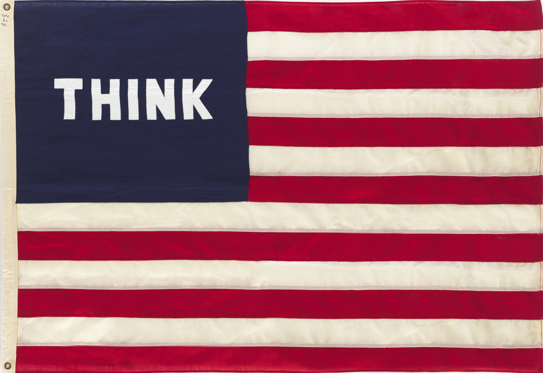 William N. Copley, Imaginary Flag for U.S.A., 1972, stitched and sewn fabric (cotton, nylon, polyester), 127 x 182 cm, William N. Copley Estate, New York ©VG Bild-Kunst, Bonn 2017