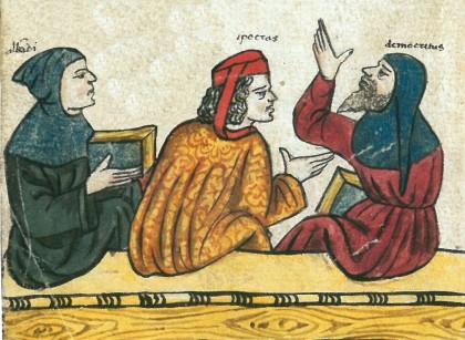 Detail Avicenna im Kreis disputierender Ärzte, Herbarium, Verona oder Venetien, spätes 15. Jh., Cod. 5264, fol. IVv © Österreichische Nationalbibliothek