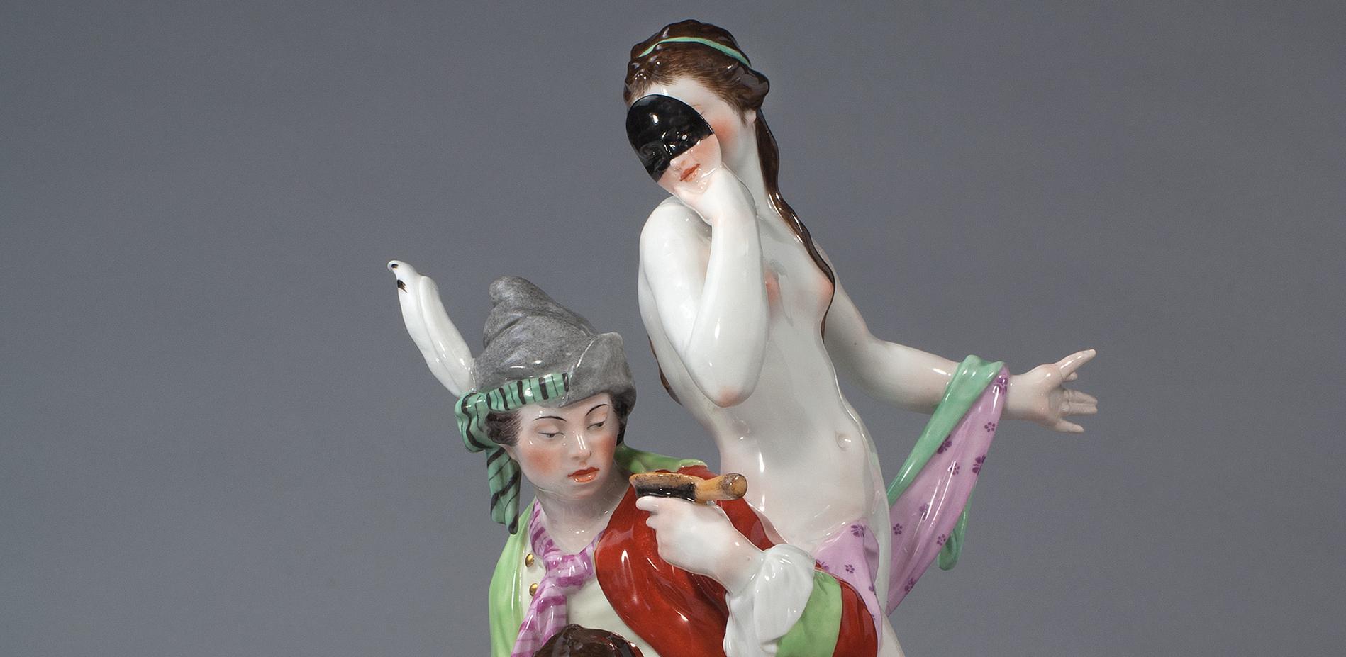 Satirische Allegorien der Freien Künste: Die Bildhauerei (Detail), Entwurf Wilhelm Christian Meyer, Ausführung KPM Berlin © Staatliche Museen zu Berlin, Kunstgewerbemuseum / Fotostudio Bartsch, Berlin
