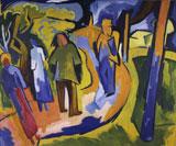 Karl Schmidt-Rottluff, Spaziergang, 1923 Öl auf Leinwand Brücke-Museum Berlin © VG Bild-Kunst Bonn