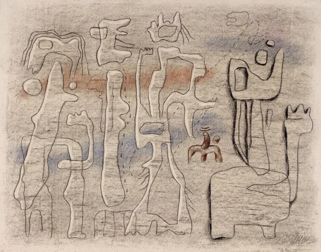 Willi Baumeister, Callot-Figuren auf rosa Grund, 1943, Kohle und Kreide auf Ingres-Bütten, 48,2 x 63,1 cm, © Archiv Baumeister im Kunstmuseum Stuttgart