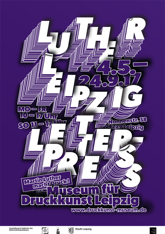 """Plakat zur Ausstellung """"Luther - Leipzig - Letterpress!"""""""