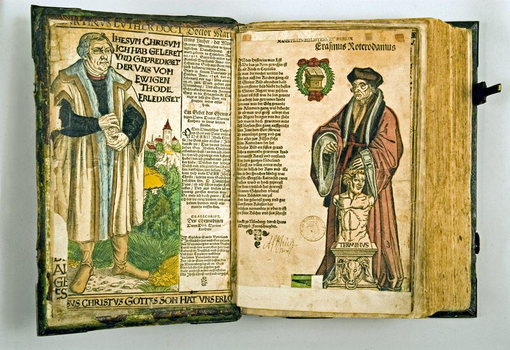 Die Hausbibel des Seidenstickers Hans Plock, Wittenberg 1541, Buchdruck mit Einträgen und Hinzufügungen © Stadtmuseum Berlin
