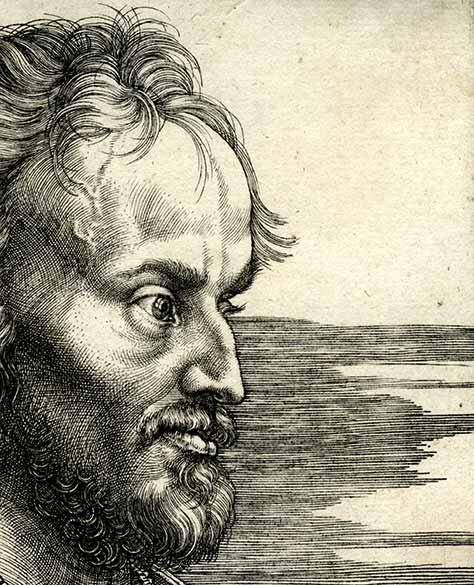 Albrecht Dürer: Bildnis Philipp Melanchthons, 1526 (Detail), Kupferstich. Bildnachweis: Kunstsammlungen der Stadt Nürnberg