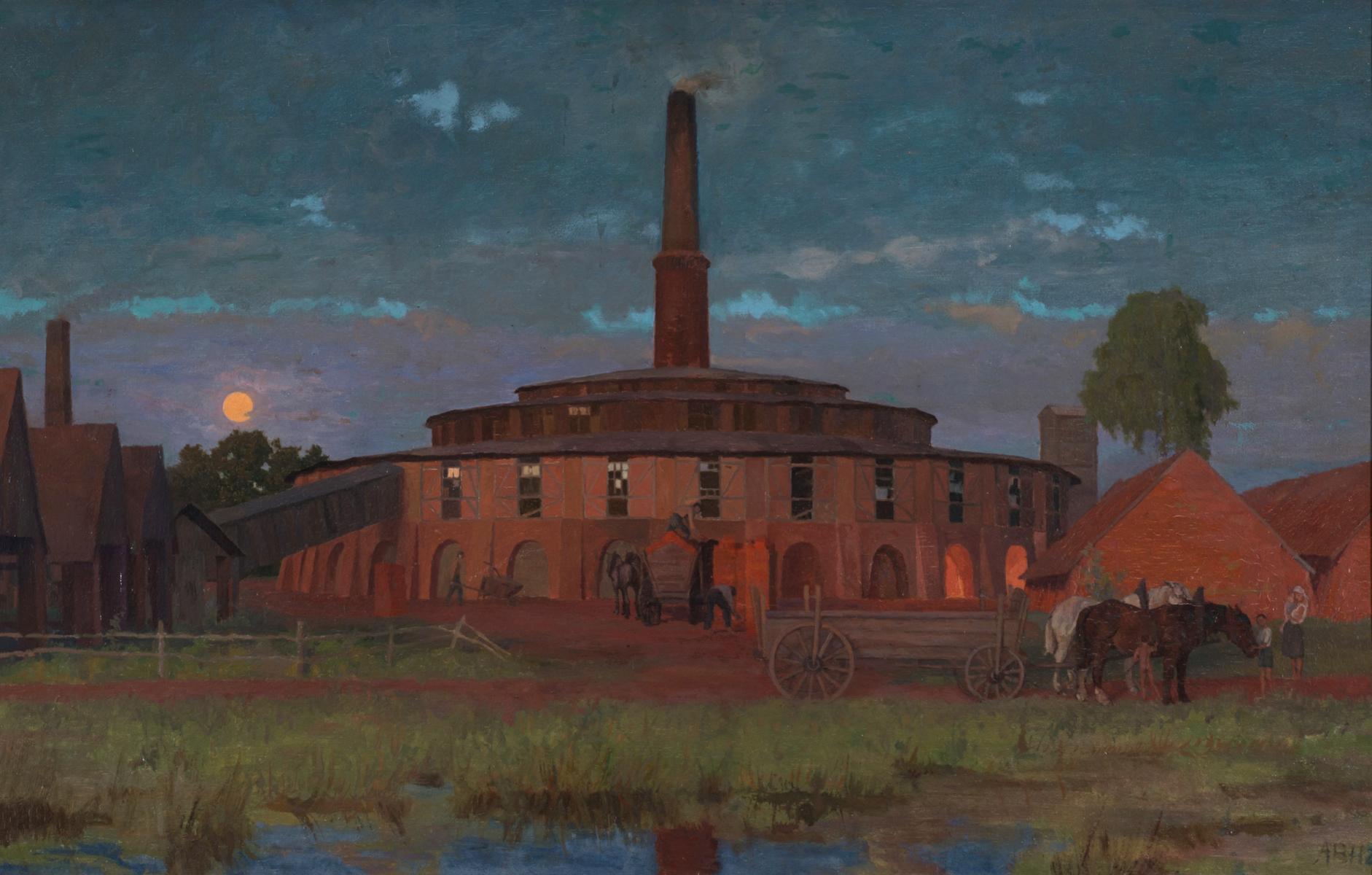 Verschollene Ziegelei in Abendlichtern. Gemälde von Alexander Bernhard Hoffmann, 1926