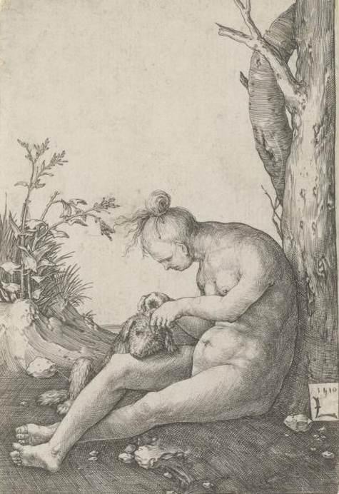 Lucas van Leyden, Nackte Frau einen Hund flöhend, 1510, Kupferstich, 105x72 mm (Blatt), Staatliche Graphische Sammlung München, © Staatliche Graphische Sammlung München
