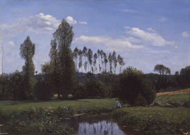 Claude Monet, Ansicht von Rouelles, 1858, Öl auf Leinwand. Marunuma Art Park, Asaka.