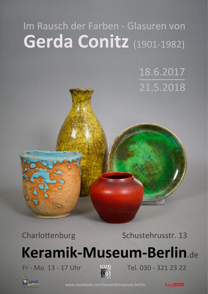Im Rausch der Faren - Glasuren von Gerda Conitz, Plakat zur Ausstellung, Keramik-Museum Berlin