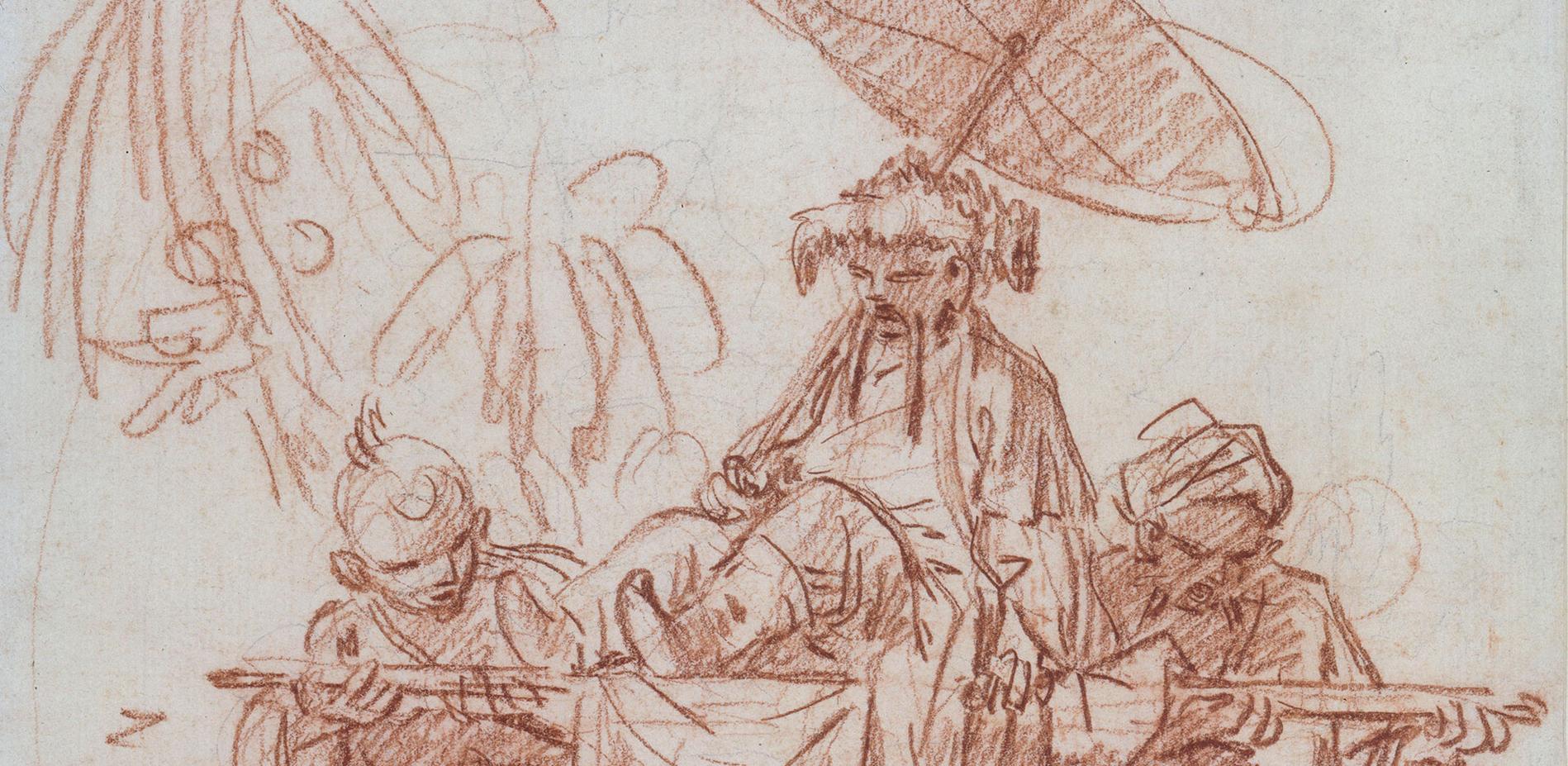 François Boucher, Chinesischer Würdenträger, von zwei Dienern getragen, um 1740, Rötel über dünner Graphitvorzeichnung © Staatliche Museen zu Berlin, Kupferstichkabinett / Jörg P. Anders