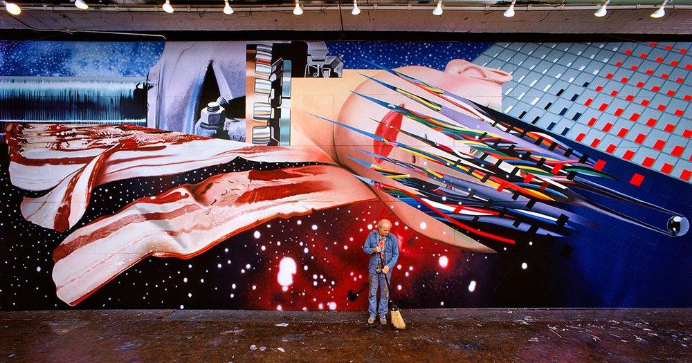 James Rosenquist bei der Arbeit an Star Thief (Sternenräuber), 1980, © Estate of James Rosenquist/VG Bild-Kunst, Bonn 2017 Foto: © Bob Adelman