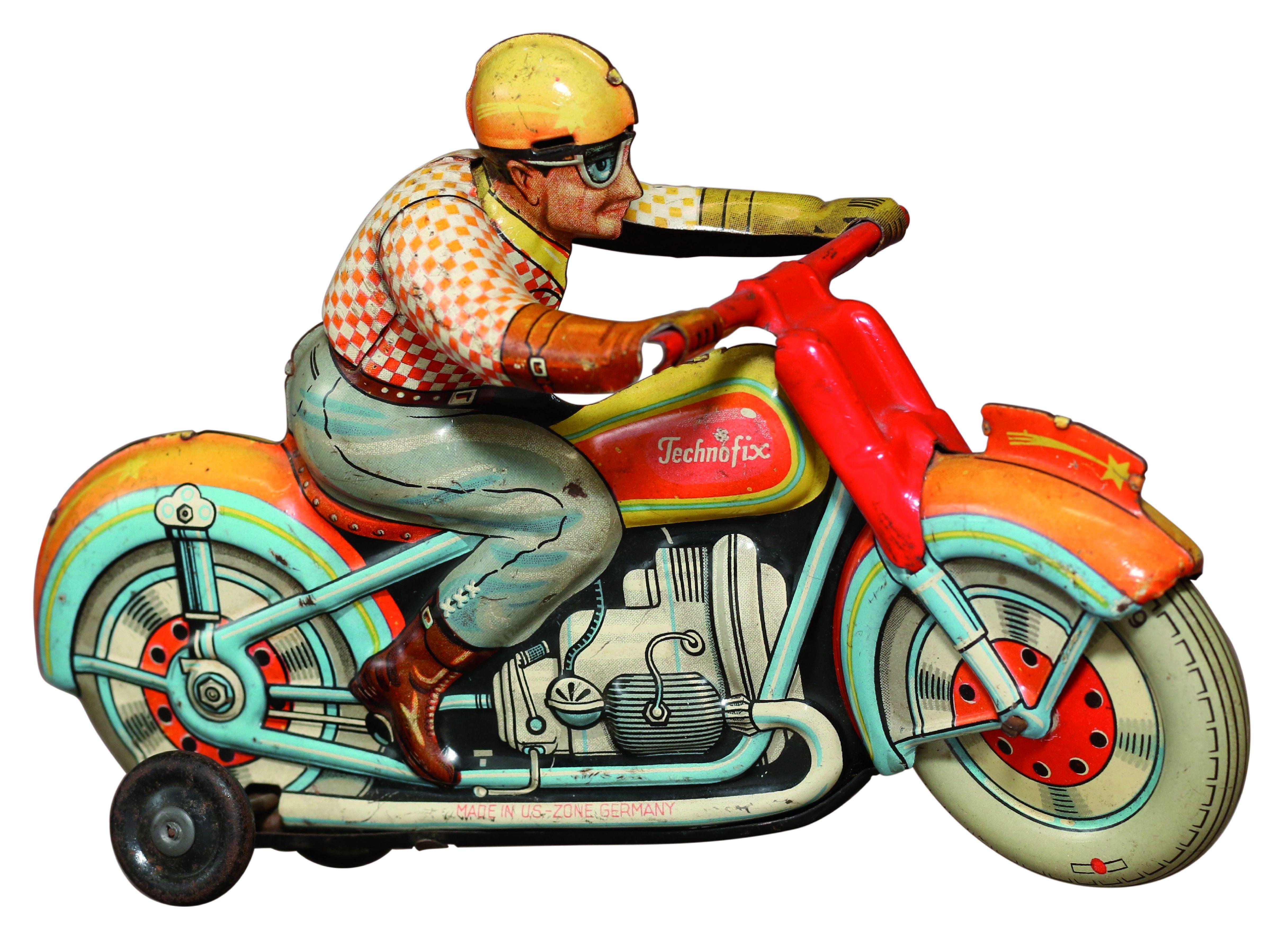 Rennfahrer, Blechspielzeug von Technofix, Nürnberg, 1945-1949