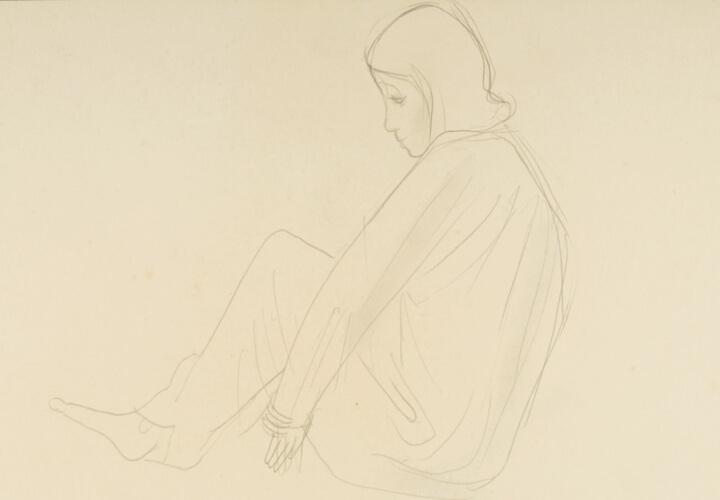 Sitzende im Gewand, Beine angezogen, um 1932, Bleistift auf Papier, © VG Bild-Kunst, Bonn 2017