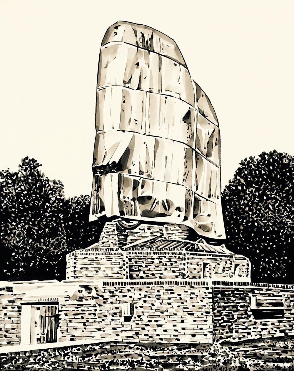 Fernando Bryce, Zeichnung ausUnvergessenes Land, 2017Serie von 25 Zeichnungen, Tusche auf Papier, 50 x 35 cm, Courtesy der Künstler und Galerie Barbara Thumm, Berlin