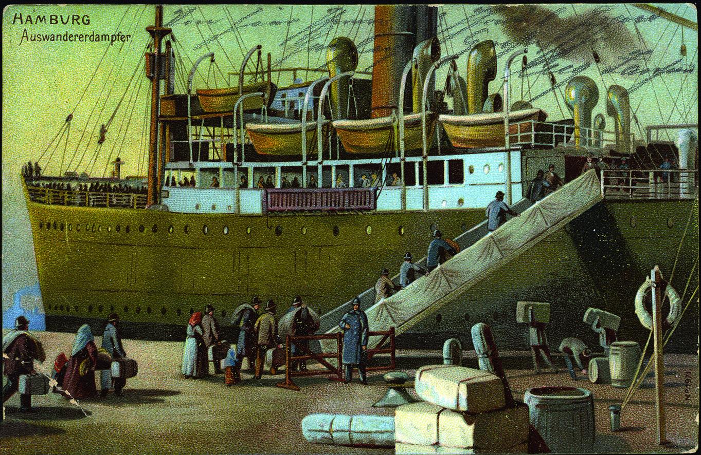 Postkarte eines Auswandererschiffes im Hamburger Hafen aus dem Deutschen Auswandererhaus Bremerhaven