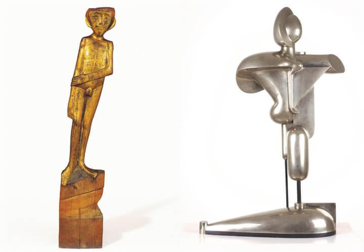 Gerhard Marcks, Jüngling, 1921, Holz, vergoldet, Privatbesitz - Oskar Schlemmer, Abstrakte Figur, 1921/23, Bronze vernickelt, Museum Moderne Kunst, Wien,  © VG Bild-Kunst, Bonn 2017