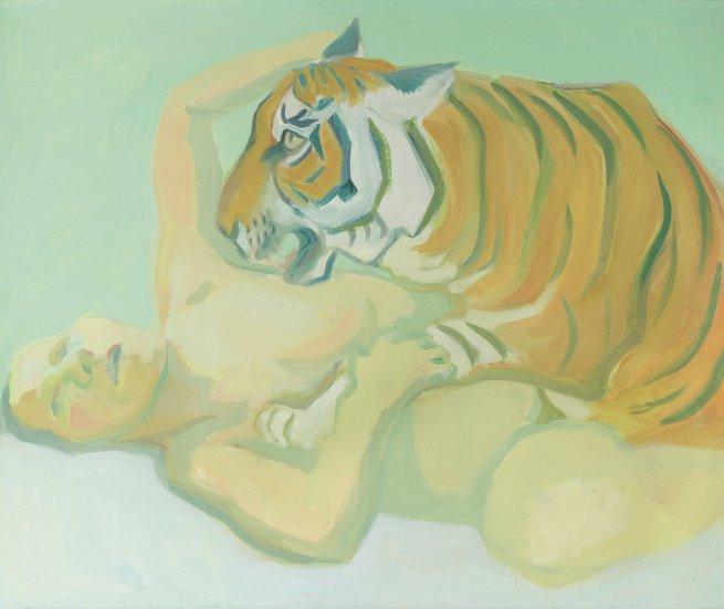 Maria Lassnig Mit einem Tiger schlafen, 1975 Öl auf Leinwand Albertina, Wien – Dauerleihgabe der Österreichischen Nationalbank © Maria Lassnig Privatstiftung