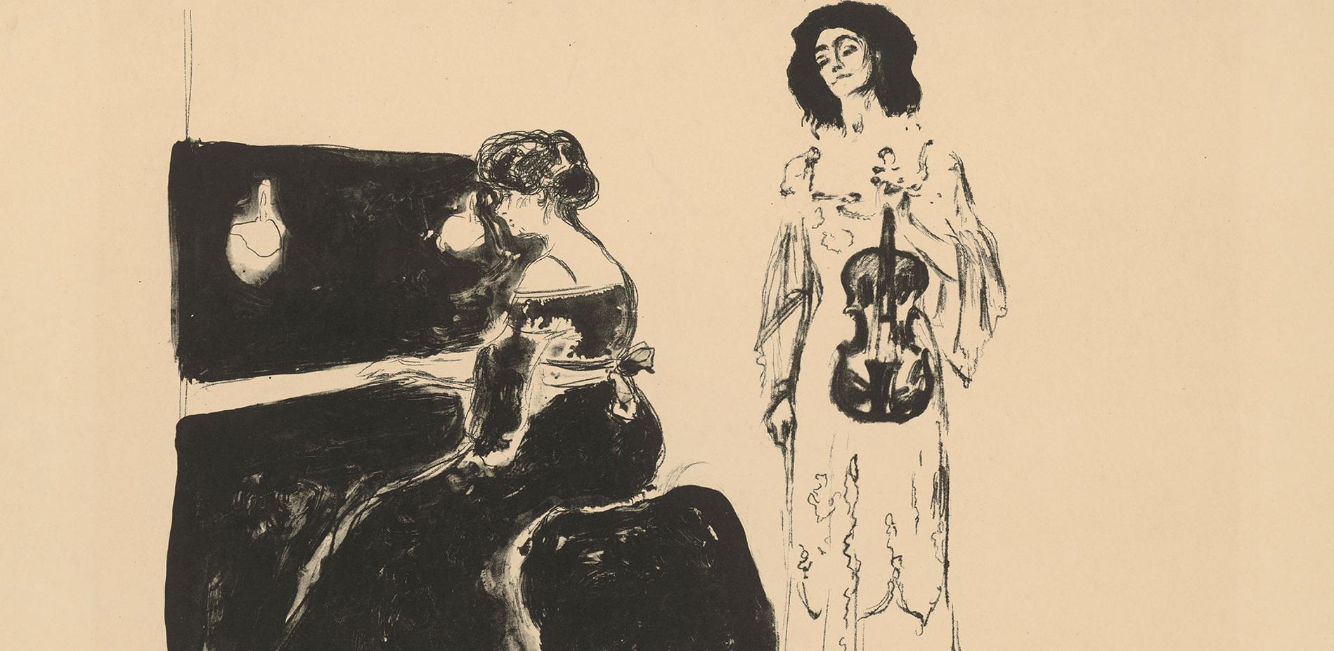 "Edvard Munch (1863-1944), ""Geigenkonzert"", 1903, Lithographie (Feder, Kreide) © Staatliche Museen zu Berlin, Kupferstichkabinett, Jörg-P. Anders"