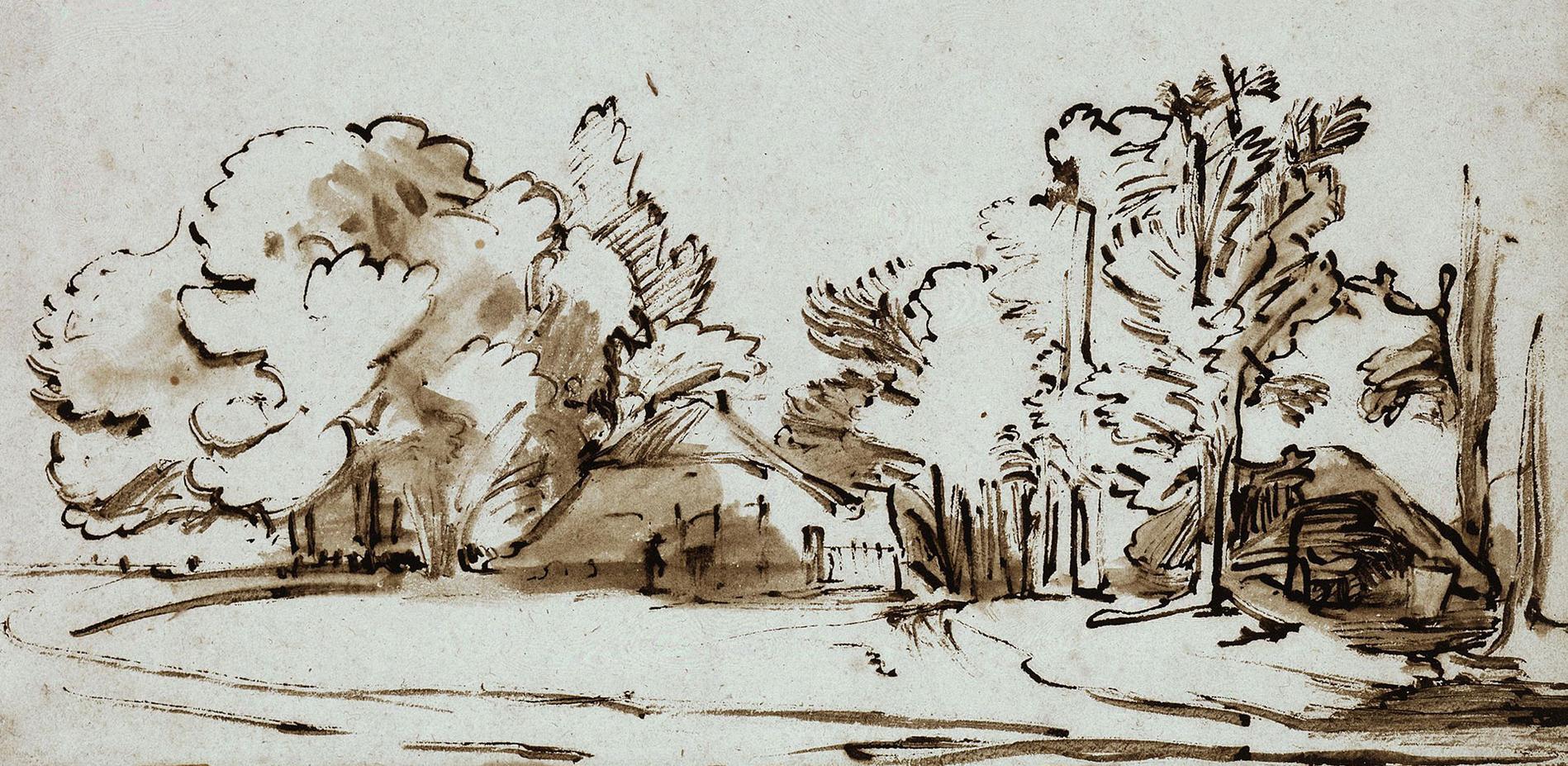 Constantijn Daniel van Renesse, Landschaft mit zwei Hütten unter Bäumen, um 1653, Feder in Braun, braun laviert (Ausschnitt) © Staatliche Museen zu Berlin, Kupferstichkabinett
