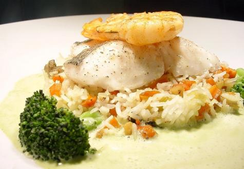 MAINCOURSE Meeresfrüchte auf Reis im Restaurant Art in Wesel